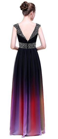 Esvor Strapless Pleats Ombre Chiffon Evening Gown Prom Dresses One-Shoulder 12