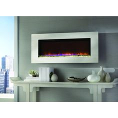 Home Decorators Collection Mirador 46 in. Wall-Mount Electric Fireplace in Stainless Steel-47HF100GRG-01 - The Home Depot