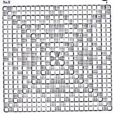 Crochet Blocks, Granny Square Crochet Pattern, Crochet Diagram, Crochet Stitches Patterns, Crochet Chart, Crochet Squares, Crochet Granny, Crochet Motif, Crochet Doilies