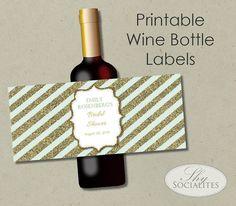 Mint & Gold Glitter Printable Wine Label  Hostess by ShySocialites