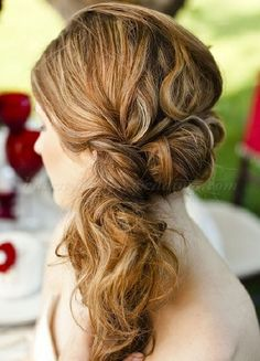 ponytail wedding hairstyles - twisted side ponytail
