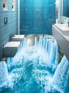 Buy Waterfall Print PVC Removable Floor Wall Stickers, sale ends soon. Be inspired: discover affordable quality shopping on Gearbest Mobile! 3d Floor Art, 3d Floor Painting, Floor Murals, Floor Decal, Floor Stickers, Wall Stickers 3d, Dream Bathrooms, Dream Rooms, Floor Design