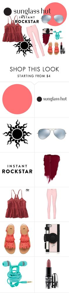 """Shades of You: Sunglass Hut Contest Entry"" by devin-10 on Polyvore featuring Ray-Ban, Aéropostale, Maison Kitsuné, Kate Spade, MAC Cosmetics and shadesofyou"