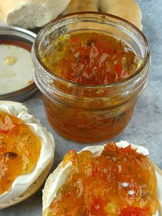 How to make this sweet and spicy Christmas pepper jam. Pepper Jam is AMAZING. Try it on a toasted bagel with some cream cheese & a spoonful of jam. It also makes a terrific glaze on pork or chicken. Pepper Jelly Recipes, Hot Pepper Jelly, Pineapple Pepper Jelly Recipe, Hot Pepper Relish, Jam Recipes, Canning Recipes, Recipes Dinner, Potato Recipes, Pasta Recipes