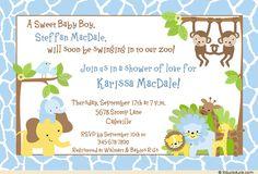 baby shower border images | Giraffe & Friends Shower Invitation - Cute Baby Boy Blue Pattern