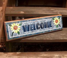 This Mosaic Outdoor Sign / Plaque Name or Address is just one of the custom, handmade pieces you'll find in our ornaments & accents shops. Mosaic Tile Art, Mosaic Pots, Mosaic Diy, Mosaic Garden, Mosaic Crafts, Mosaic Glass, Stained Glass, Mosaic Backsplash, Mosaic Designs