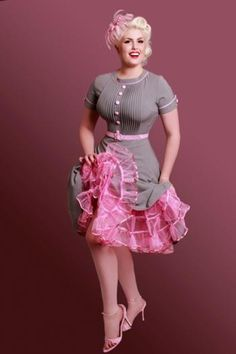 Pink & Gray pin up girl dress is an I NEED kinda thing!