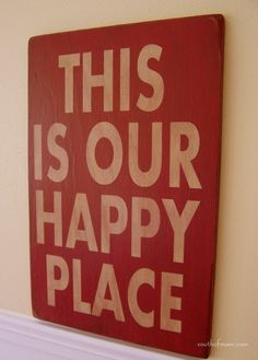 """This Is Our Happy Place - 12"""" x 18"""" Plywood Hand Painted Sign. $36.00, via Etsy. Hand Painted Signs, Camper Life, Diy Signs, Wooden Signs, Plywood, Picture Sayings, Lisa Phillips, Twin Lakes, Craft Night"""
