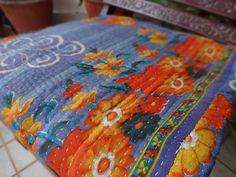 Printed Vintage Kantha Quilt, Boho Kantha Blanket, Reversible Kantha Bedding  #TradestarExport #Traditional