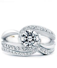 Cascade Engagement Ring and Wedding Band - Mark Schneider Design