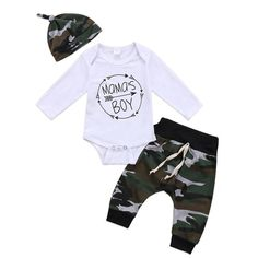Set Mama's Boy Newborn Baby Clothing Long Sleeve Cotton Romper Tops+Camouflage Pant Trouser Hat Outfit Kids Clothes - Baby Boy Names Baby Girl Names Baby Boy Clothes Hipster, Baby Girl Pants, Baby Boy Romper, Cute Baby Clothes, Baby Jeans, Summer Clothes, Baby Outfits Newborn, Baby Boy Newborn, Baby Boy Outfits