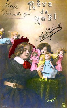 Rêve de Noël  - Une fille avec ses nombreuses poupées - 1905 (from http://mercipourlacarte.com/picture?/1445/)