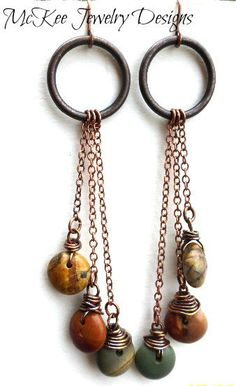 Jasper and copper dangle earrings. Metal and stone. Fall jewelry. McKee Jewelry Designs