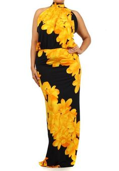PLUS SZ YELLOW BLACK FLORAL PRINT TURTLENECK FULL LENGTH MERMAID MAXI DRESS GOWN #MILANOUSA #Maxi #Cocktail