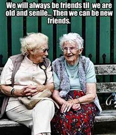 Friendship is the best thing that happens in our life, and the real friendship is you never leave your friends alone keep disturbing them ! whats is friendship without some fun & Humor, below i… New Friends, My Best Friend, Old Friends Funny, National Best Friend Day, Special Friends, Old Lady Humor, Friends Forever, Old Women, Friendship Quotes