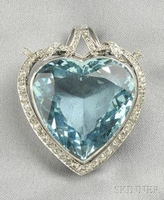 Platinum, Aquamarine, and Diamond Heart Pendant