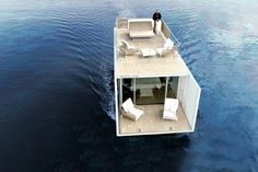 """Mano de Santo Architecture & Design have collaborated with KMZero Open Innovation Hub to design and promote """"Punta de Mar"""", a modern houseboat for two. Architecture Design, Cabinet D Architecture, Floating Architecture, Sustainable Tourism, Sustainable Design, Sustainable Architecture, Floating Hotel, Floating Restaurant, Floating Boat"""