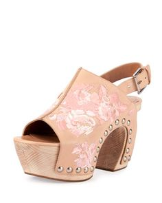 Pink Embroidered Platform Clog Sandal by Alexander McQueen at Neiman Marcus