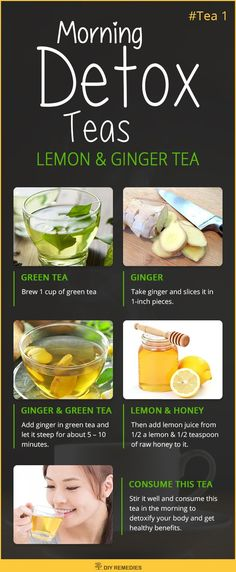 Lemon and Ginger Morning Detox Tea  Lemon juice helps a lot in cleaning out the system with its rich source of vitamin C and flavonoids along with antioxidant and anticancer properties. Ginger has antibacterial and anti-inflammatory properties that help to clear skin and digestive problems along with motion sickness. #Lemon #Ginger #Detox #Tea #DIYRemedies
