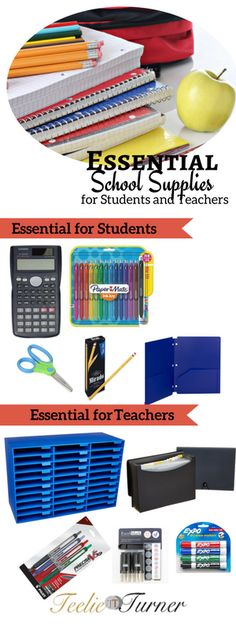 Back to School  Essential School Supplies for Students and Teachers: www.teelieturner.com #backtoschool
