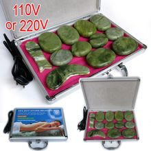 High quality 14pcs/set jade body massage hot stone face back massage plate SPA with heater box CE and ROHS //Price: $US $74.10 & FREE Shipping //