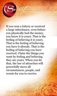 The Feeling of Believing it is yours....