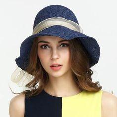 Organza bow straw sun hat for women UV summer beach straw hats