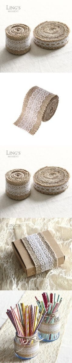 2015 New Arrival 5M Vintage Natural Jute Burlap Hessian Ribbon Lace Trim Table Wedding Decor $4.8