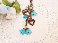 Baby Blue Lily of the Valley Flower Bag Dangles or by PrettySang, $9.90