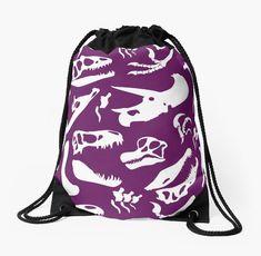 Dinosaur Bones (Purple) by thekohakudragon Drawstring Bag  #dinosaurs #jurassic #trex #spinosaurus #triceratops