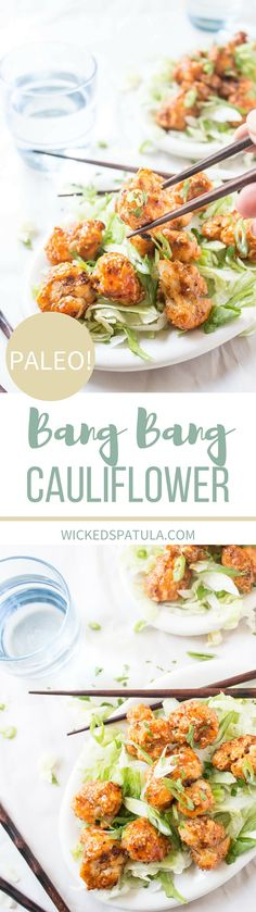 Bang Bang Shrimp vegetarian style! This recipe for Bang Bang Cauliflower is totally gluten free and paleo friendly! A great appetizer or light meal! Use avocado mayo to keep this paleo recipe clean eating friendly. Make during meal prep to enjoy all week. Pin now to try this healthy vegetable recipe later.