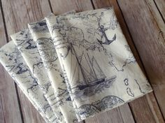 Nautical Cloth Napkins, Blue and White Beach Napkins, 12x12 Cotton Napkins, Set of 6. A great pick for summertime dining. A nautical map etched in navy, on a creamy, off-white background. Perfect for the beach, outdoor dining and casual dinners. Set of 6, 12x12 napkins. Handcrafted, 100% cotton, prewashed for shrinkage.