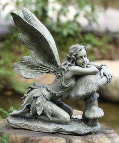 Loving this Green Fairy & Mushroom Figurine on #zulily! #zulilyfinds