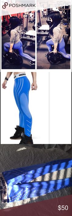 Labellamafia leggings Baby blue with silver  detailing. Labellamafia brand logo waistline. High quality workout wear material. Sign of wear at waistline other than that great condition. labellamafia Pants Leggings
