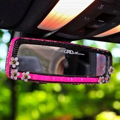 Hot Pink Bling Car Rear View Mirror Cover with Daisy and Rhinestones Clip-on Chrome - Carsoda - 1