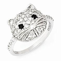 Cheryl M Sterling Silver White & Black CZ Cat Ring
