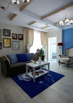 Innendesign Wohnzimmer Blauer Teppich Blumenmuster Bodenbelag
