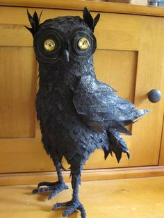 Halloween Owl - This is fabric, but would be fun in papier mache as well