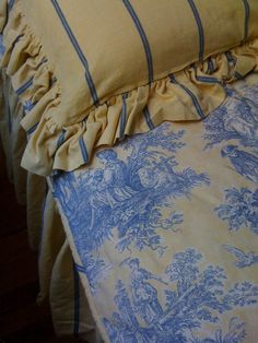 "High quality Waverly cotton fabric in gorgeous soft blue and yellow. The duvet cover is made from toile in a classic pattern called, ""Country Life Blue Lake"" it is reversible with a floral pattern on the other side and is piped with Waverly's yellow and blue French Ticking.    The coordinating sham and bedskirt are both made from the ticking.    The set is wonderfully shabby chic; a lovely softness to the textiles, but absolutely no holes, stains or excessive wear."