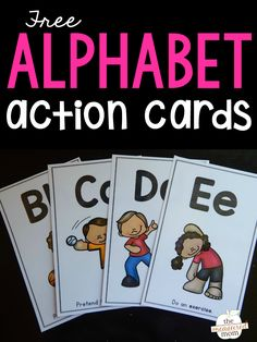 Learn letters and their sounds with these fun (and free!) alphabet action cards! Preschool Lessons, Kindergarten Literacy, Early Literacy, Literacy Centers, Math Lessons, Preschool Ideas, Preschool Learning, Learning Activities, Teaching Resources