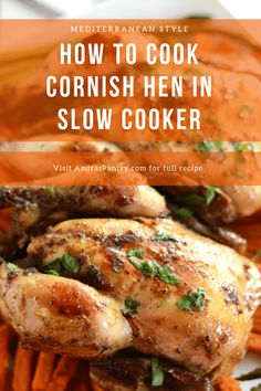 How to cook cornish game hens? and guess what in your SLOW COOKER. Every part of the chicken turns out juicy and so flavorful with that Mediterranean olive oil and herbs rub. Cornish Hen Recipe Slow Cooker, Cornish Hens Crockpot, Cornish Hen Recipe Easy, Cooking Cornish Hens, Slow Cooker Recipes, Crockpot Recipes, Cooking Recipes, Vegan Recipes, Crockpot Chicken Dinners
