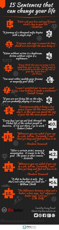 15 Sentences that can change your life [Infographics] - Techacker Change your outlook #positivity #livepositively