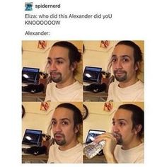Never realized this cause he did say that he hid the letter, ran to her face, and said this is what you set up. Not once he brought up the letter nor did he have it with him Hamilton meme Lin-Manuel Miranda lol Aaron Burr, Hamilton Comics, Funny Hamilton, Hamilton Lin Manuel Miranda, Hamilton Peggy, Lin Manuel Miranda Quotes, Hamilton Broadway, Dear Evan Hansen, Oui Oui
