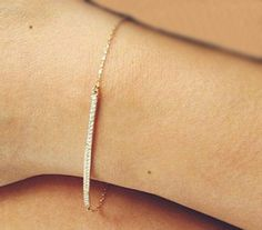 Diamond bar Bracelet, Pave Diamond Bracelet, 14k Gold Bar Bracelet on Etsy, 4 719:02 kr