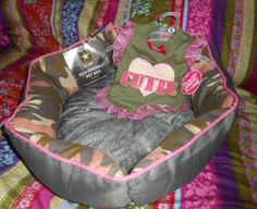 US ARMY ECO PET BED PINK CAMOUFLAGE MILITARY + MATCHING SMALL MAJOR CUTIE DRESS picclick.com