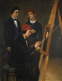 Young Artist and His Model  Painting: Permanent Exhibition - Permanent Exhibition 2000 - 2013The years of Othon's reignEarly greek portraitureYoung Artist and His Model  Unknown Young Artist and His Model,ca 1840-1845Oil on cardboard, 66 x 50 cm inv.no: Π.1871 On view National Gallery,Hellenic Army Park,Goudi An appealing as well as seminal work, this painting marks the beginning of Greek portraiture.