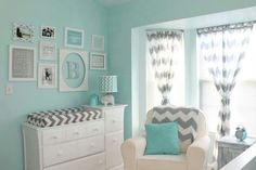 Nursery idea. Maybe in pink or purple instead of the blue (and just in accents instead of so much of it)