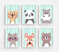 Sale Off - Printable Nursery Art Set of 6 - Tiger Panda Hippo Raccoon Fox Bear ( Baby room decor kids Poster Cute Animal kawaii Woodland
