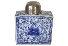 Blue &   White Square Jar
