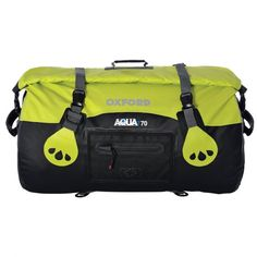 Oxford Aqua T-70 Roll Bag -- Oxford's Aqua T-70 Roll Bag is designed as general motorcycle luggage, although a tough, waterproof bag makes for a good travel companion for lots of people. Waterproof roll top closure, grab carry handles, and compression straps add functionality. For motorcycle use, the Roll Bag has a special attachment system with an under-seat security strap. And a padded shoulder strap makes carrying heavy loads less uncomfortable.
